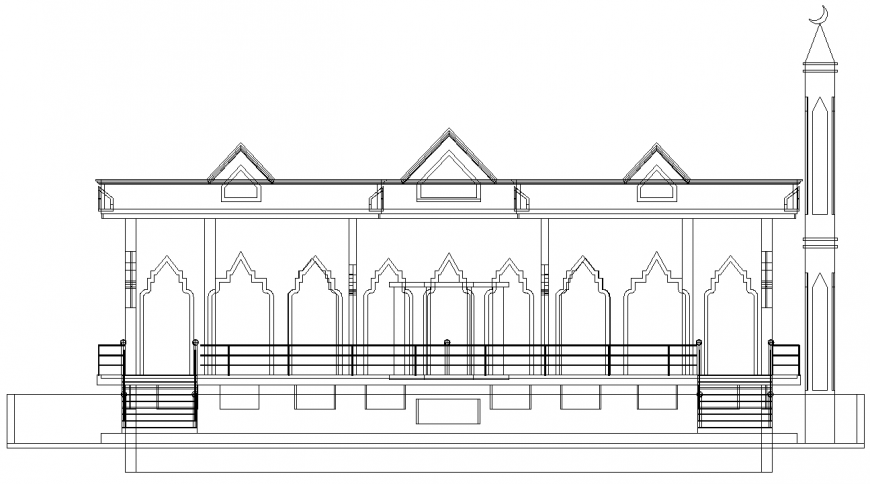 Mosque plan with a detail dwg file.