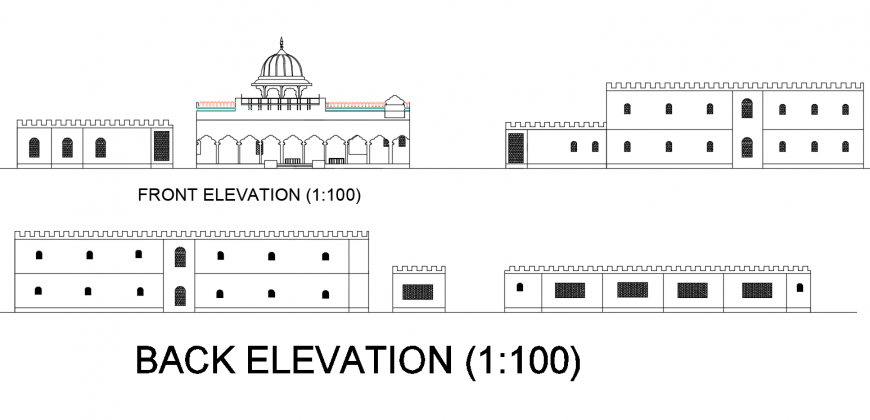Motel elevation plan layout file