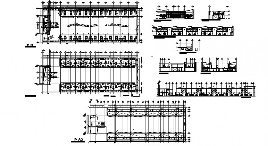 Motel floor plan and elevation in auto cad