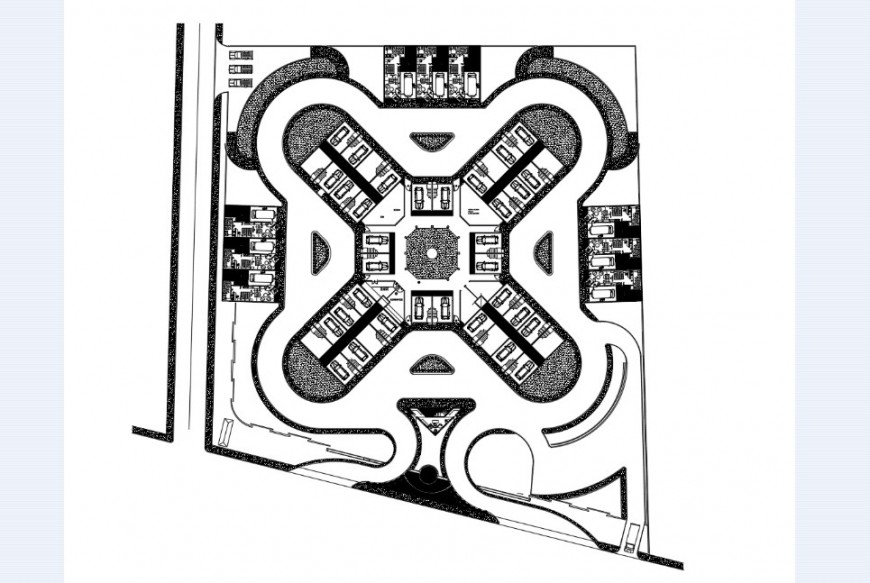 Motel parking plan in AutoCAD software