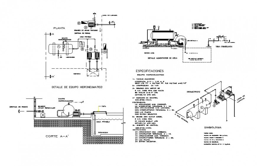 Motor pump section and hydraulic water installation cad drawing details dwg file