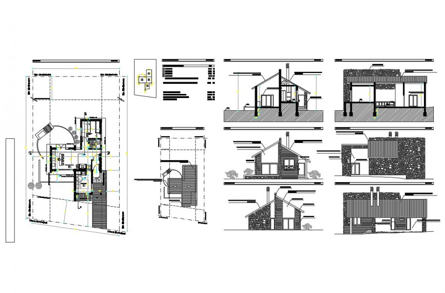 Mountain hut-house type detailed architecture project dwg file