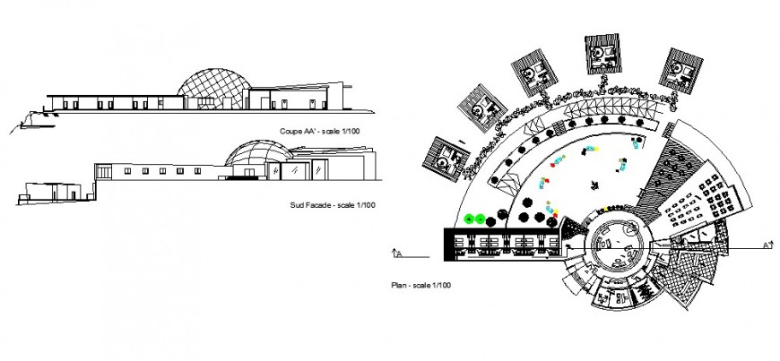 Mountain resort elevation, section and plan cad drawing details dwg file