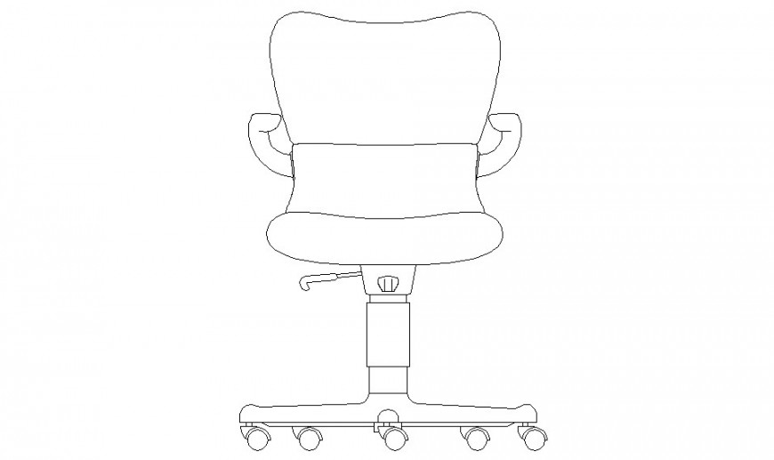Movable chair front 2d model design dwg file