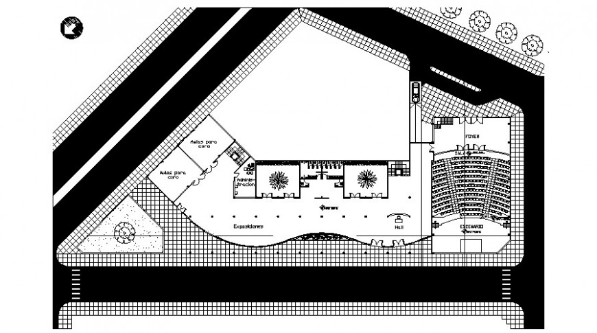 Movie theater distribution layout plan cad drawing details dwg file