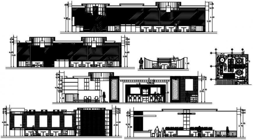 Multi-cousin restaurant all sided elevation and section drawing details dwg file