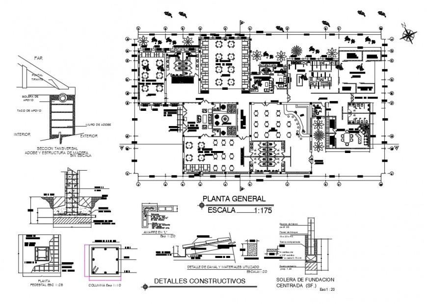 Multi-cuisine restaurant general plan and constructive details dwg file