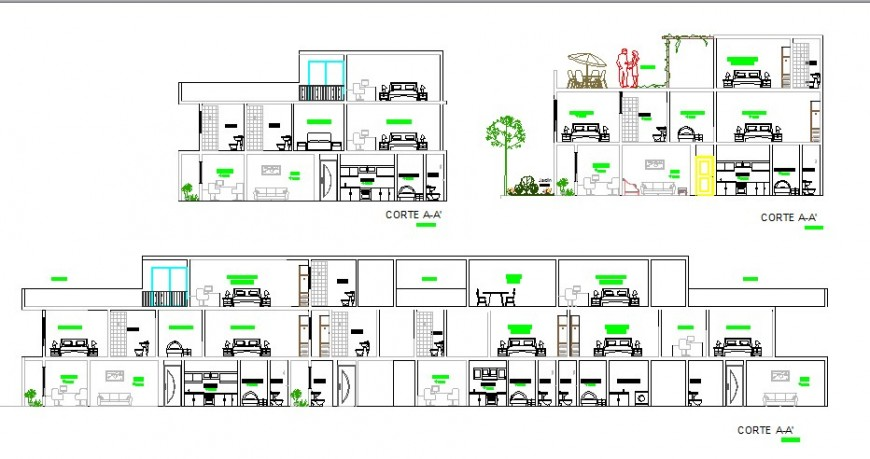 Multi-familiar apartment building all sided section cad drawing details dwg file