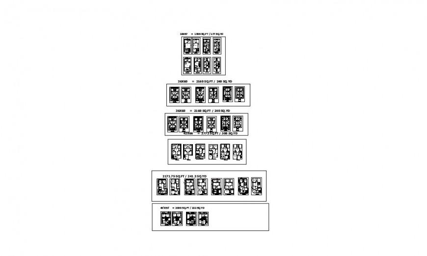 Multi-familiar apartment building blocks floor plan distribution details dwg file