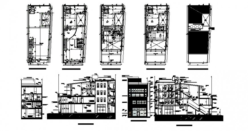 Multi-familiar apartment building elevation, all sided section and floor plan details dwg file