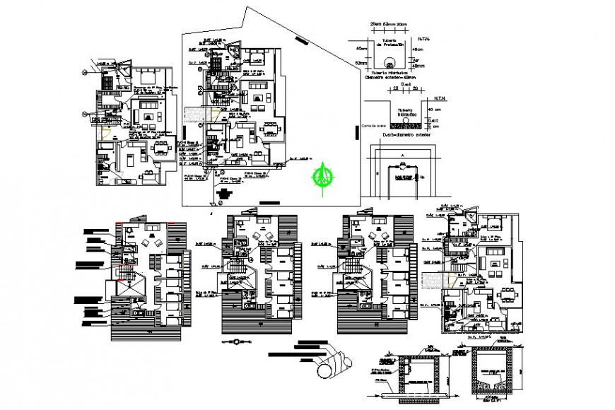 Multi-familiar apartment building floors layout plan and structure cad drawing details dwg file