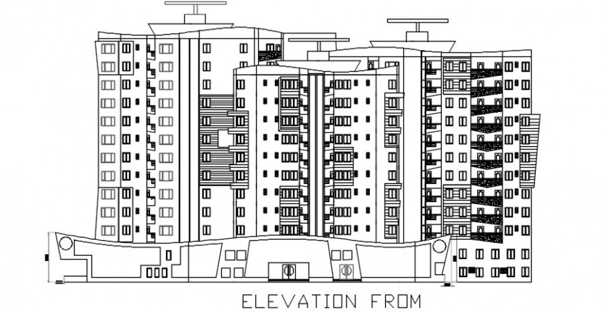 Multi-familiar apartment building with shops main elevation drawing details dwg file