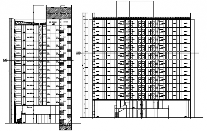 Multi-familiar apartment flat building main and side section cad drawing details dwg file
