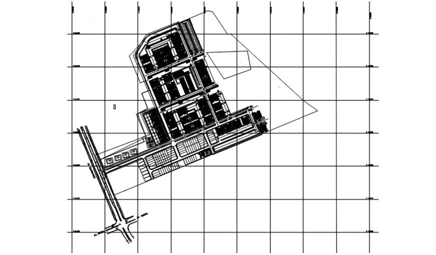 Multi-familiar building distribution plan cad drawing details dwg file