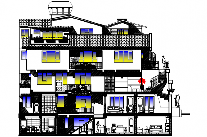 Multi-familiar five story building main section cad drawing details dwg file