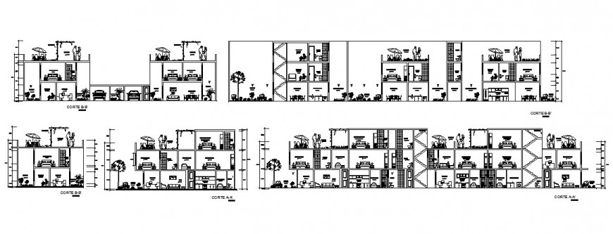 Multi-familiar residential apartment building all sided section cad drawing details dwg file