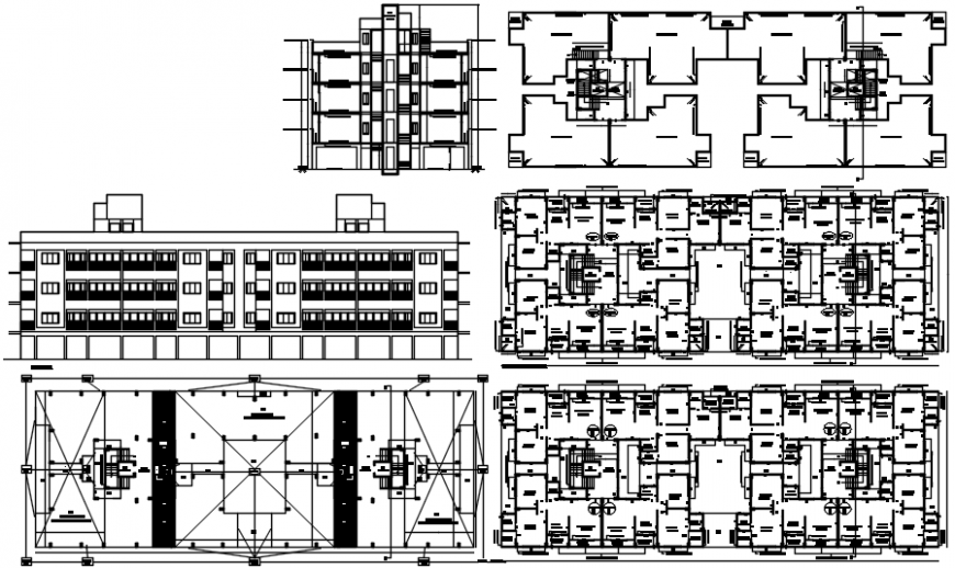 Multi-familiar residential apartment building elevation, section and floor plan drawing details dwg file