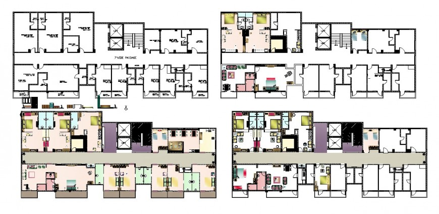 Multi-familiar residential apartment building floor plan distribution cad drawing details dwg file