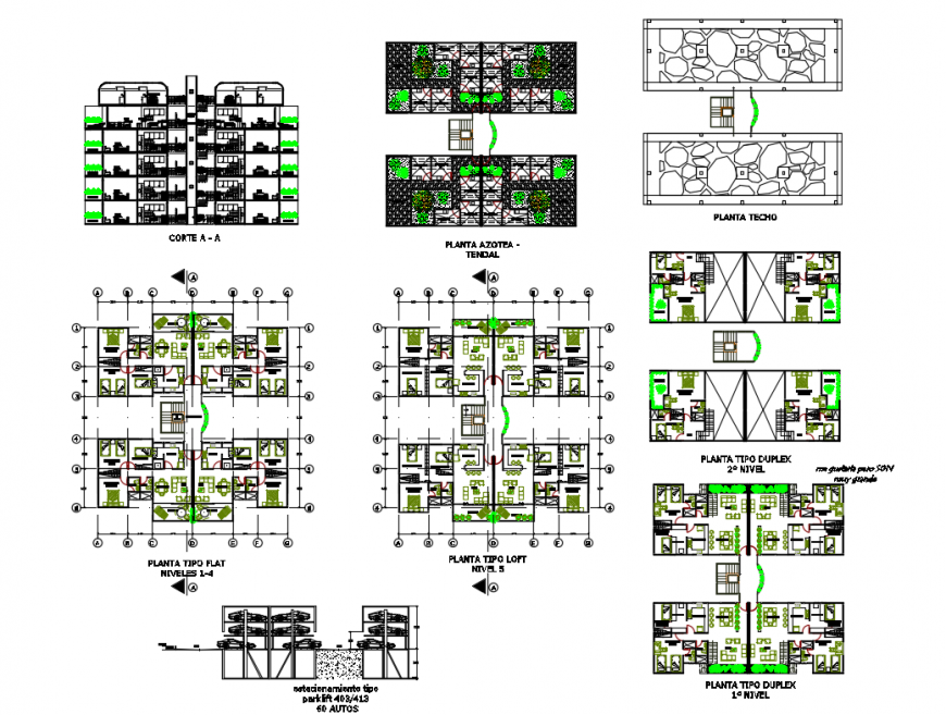 Multi-familiar residential building elevation, section, plan and auto-cad details dwg file