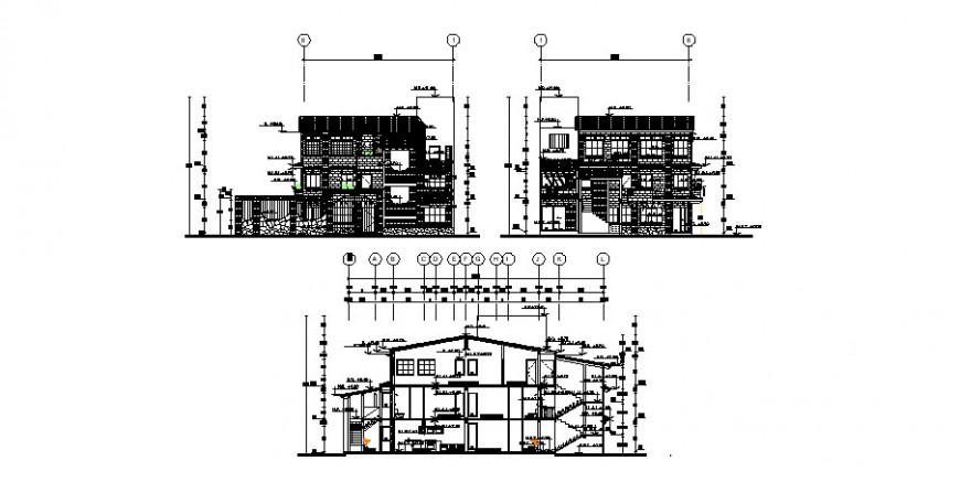 Multi-familiar residential building elevation and section cad drawing details dwg file