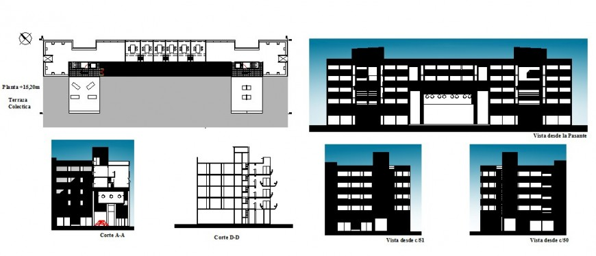 Multi-family apartment building all sided elevation, section and auto-cad details dwg file