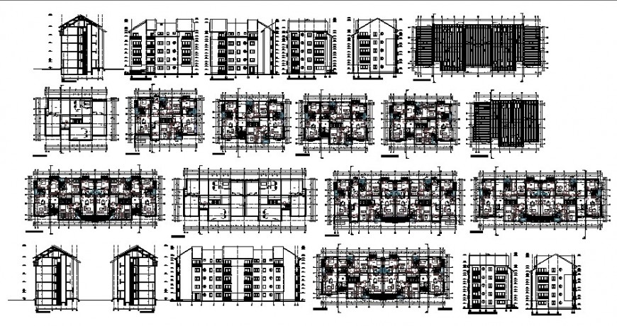 Multi-family apartment building blocks elevation, section and floor plan cad drawing details dwg file