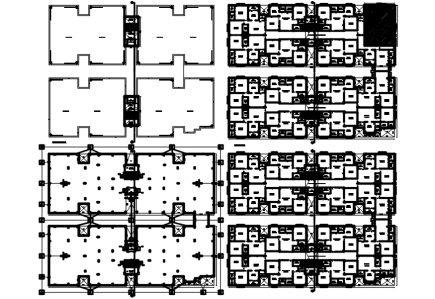 Multi-family apartment building blocks floor plan and structure details dwg file