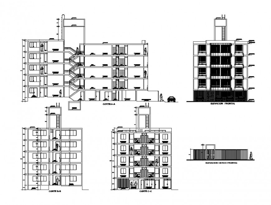 Multi-family apartment building elevation and sectional details dwg file