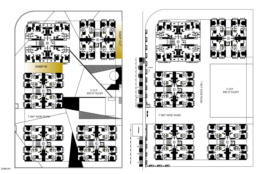 Multi-family apartment building floor distribution drawing details dwg file