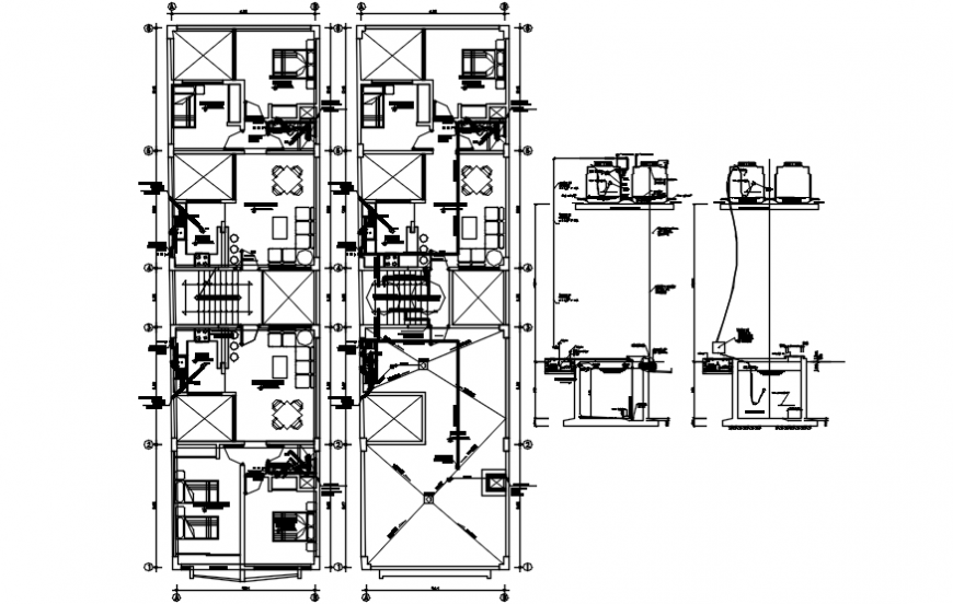 Multi-family apartment building floor plan and structure drawing details dwg file