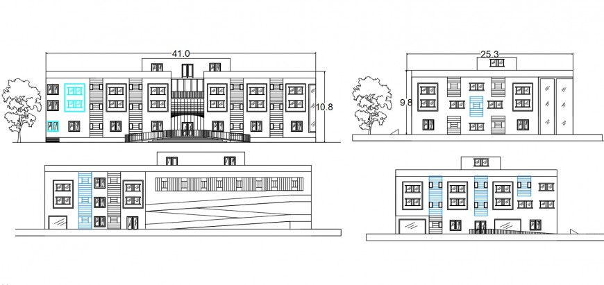 Multi-family apartment building four sided elevation cad drawing details dwg file