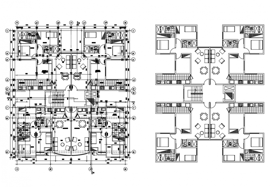 Multi-family apartment building layout plan, furniture layout plan and auto cad details dwg file