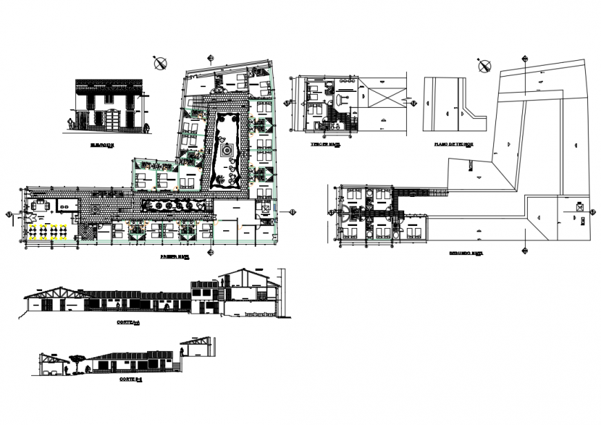 Multi-family apartment building sectional and layout structure cad drawing details dwg file