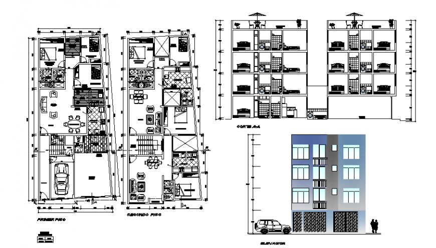Multi-family apartment elevation, section, first floor and second floor plan details dwg file