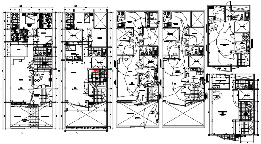 Multi-family building floor plan and electrical installation drawing details dwg file
