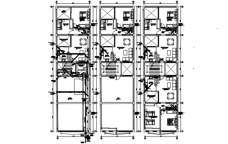 Multi-family building houses layout plan cad drawing details dwg file