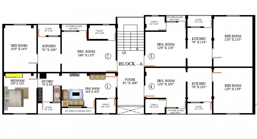 Multi-family house blocks layout plan cad drawing details dwg file