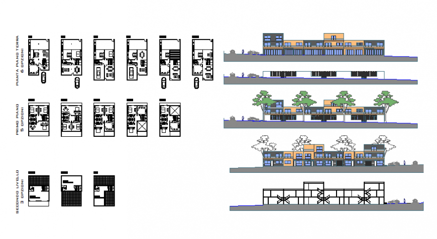 Multi-family house building elevation, section and floor plan details dwg file
