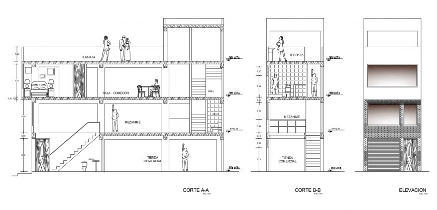 Multi-family house building elevation and section cad drawing details dwg file