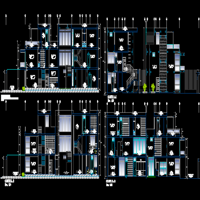 Multi-family house building elevation and sectional details dwg file