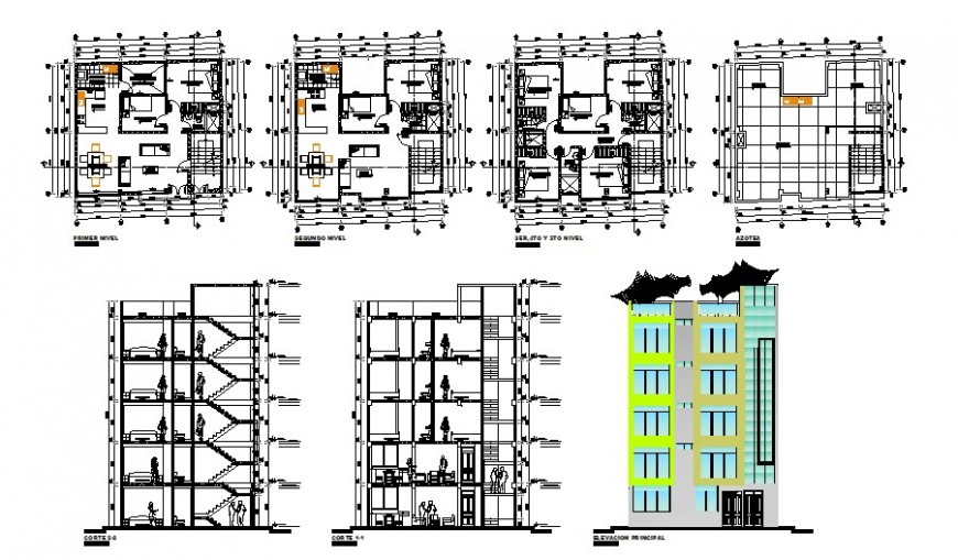 Multi-family housing apartment flats building detailed architecture project dwg file