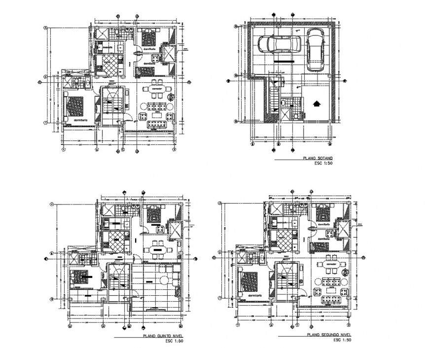 Multi-family housing building floor plan distribution cad drawing details dwg file