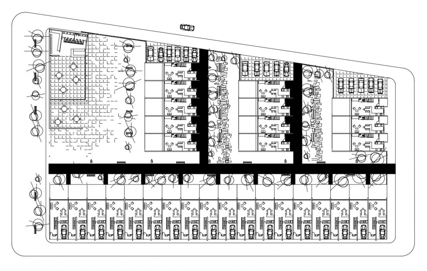Multi-family housing flats distribution plan cad drawing details dwg file