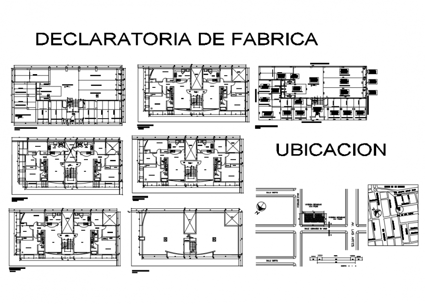 Multi-family housing floor plan, electrical layout plan and site plan details dwg file