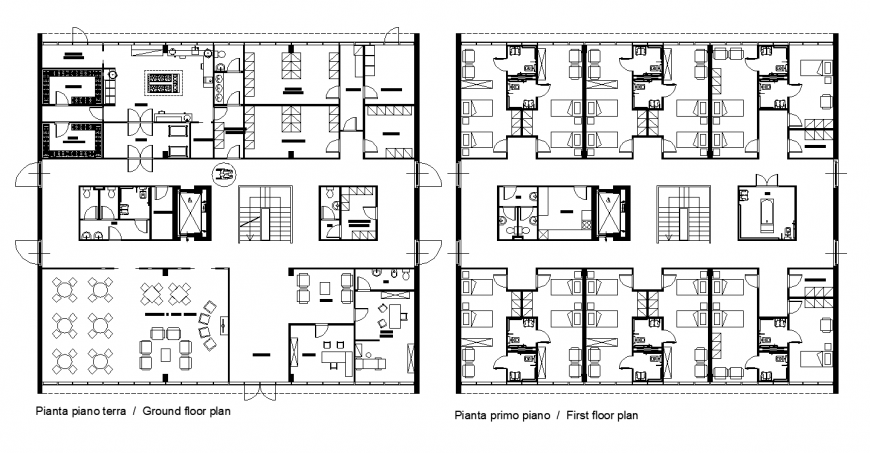 Multi-family housing structure detail 2d view layout elevation and plan autocad file