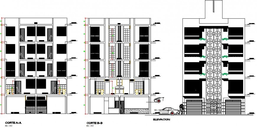 Multi-family multi-level residential building elevation and section details dwg file