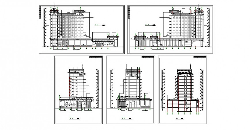 Multi-family residential apartment building all sided elevation and section drawing details dwg file