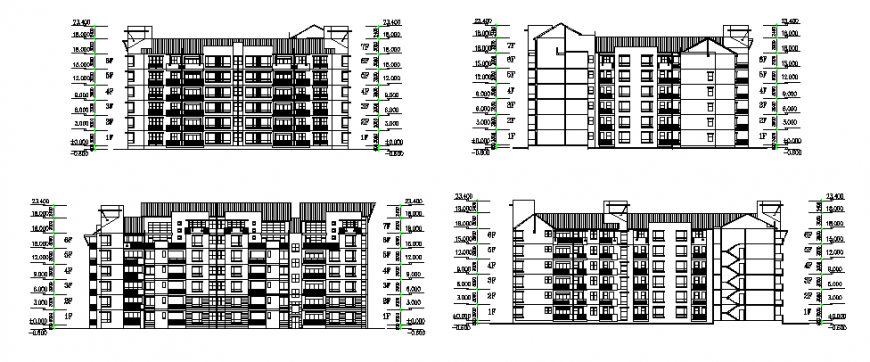 Multi-family residential apartment building all sided elevation details dwg file