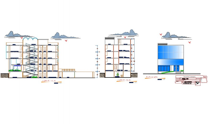 Multi-family residential apartment building elevation and section details dwg file