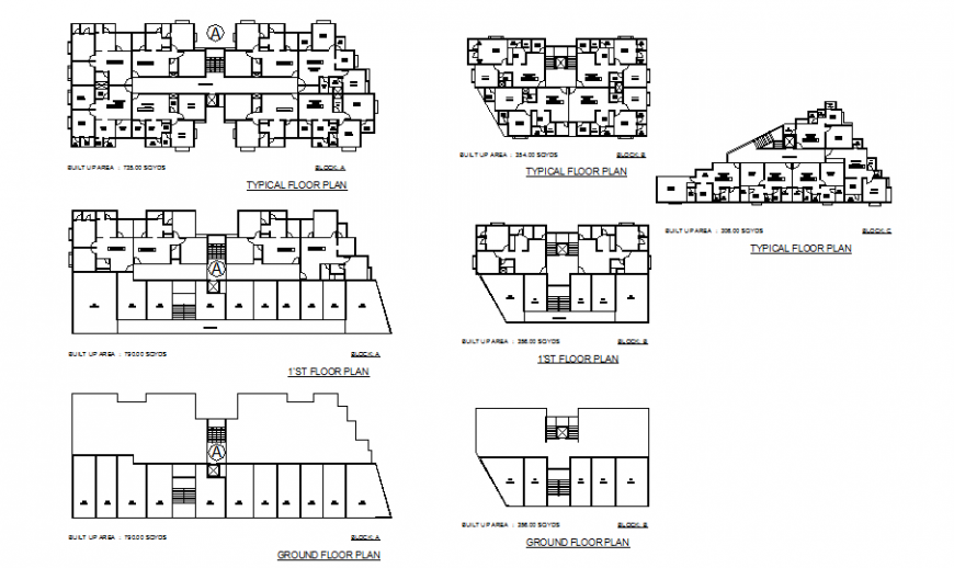 Multi-family residential apartment building first, second and typical floor plan details dwg file